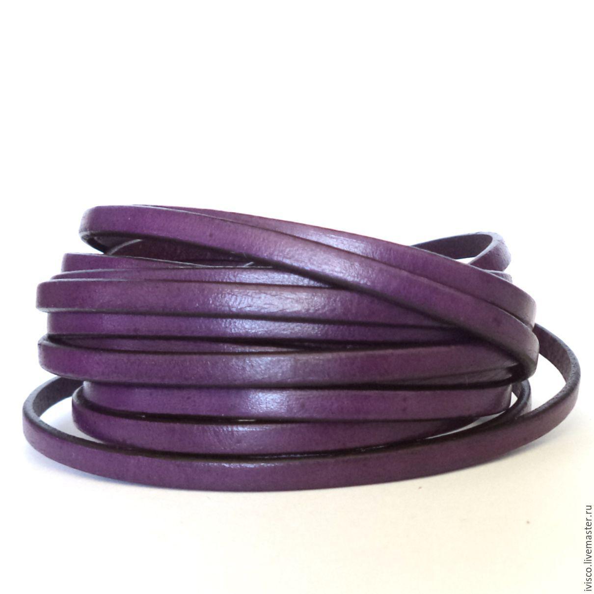 Кожаный шнур 5х2мм темно-фиолетовый матовый, Шнуры, Афины, Фото №1