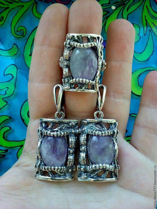 Комплекты украшений ручной работы. Ярмарка Мастеров - ручная работа. Купить 222 Комплект серебрение серьги и кольцо с камнями. Handmade.