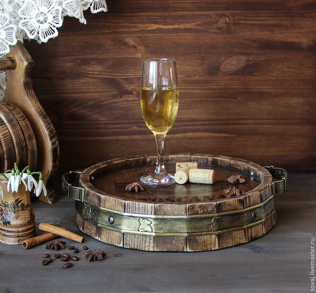 Round tray in the form of cut barrels made of pine 'Wine tradition', Trays, ,  Фото №1