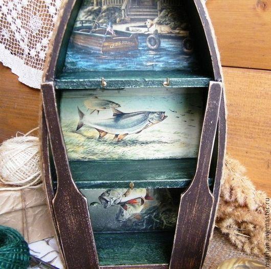 ключница, большая ключница, лодка, подарок рыбаку, для ключей, для прихожей, для коридора, прихожая ручной работы, интерьер прихожей, рыбалка, рыба, для рыбака