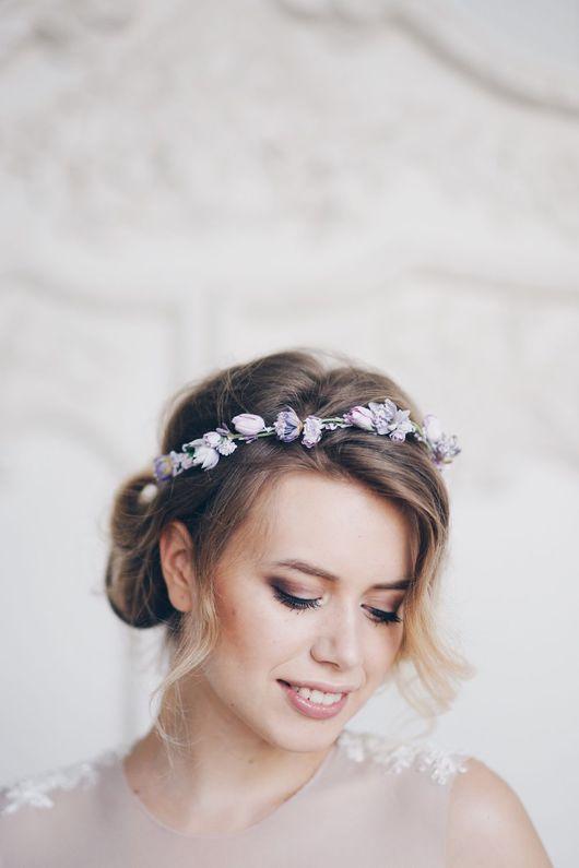 Диадемы, обручи ручной работы. Ярмарка Мастеров - ручная работа. Купить Венок на голову Lavender flowers. Handmade. Сиреневая свадьба