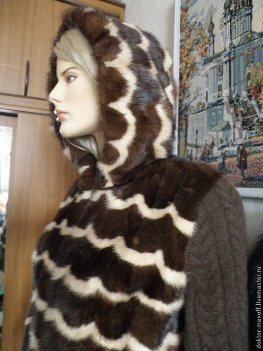 Верхняя одежда ручной работы. Ярмарка Мастеров - ручная работа. Купить Норковая куртка с капюшоном. Handmade. Бежевый, трикотаж, подарок