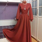 Одежда ручной работы. Ярмарка Мастеров - ручная работа Трикотажное платье макси Терракотовое. Handmade.