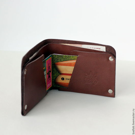 Кошельки и визитницы ручной работы. Ярмарка Мастеров - ручная работа. Купить Кожаный кошелек с отделением для карт Optima коричневый. Handmade.