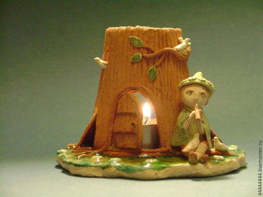 Подсвечники ручной работы. Ярмарка Мастеров - ручная работа. Купить Аромолампа Песнь леса (1) Керамика. Handmade. Аромолампа, пенек
