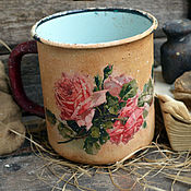 Посуда ручной работы. Ярмарка Мастеров - ручная работа Старинная кружка Розовый букет в стиле Кантри,для кухни. Handmade.