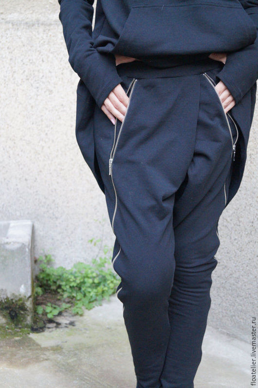 Брюки, шорты ручной работы. Ярмарка Мастеров - ручная работа. Купить Свободные брюки// Экстравагантные черные брюки/F1595. Handmade. Черный