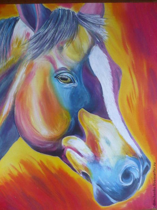 """Животные ручной работы. Ярмарка Мастеров - ручная работа. Купить Картина ручной росписи по шелку """"Лошадь""""... Handmade. Конь, картина"""