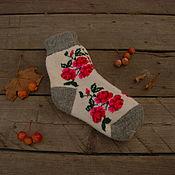 Аксессуары handmade. Livemaster - original item Socks positive fun patterned winter flowers. Handmade.