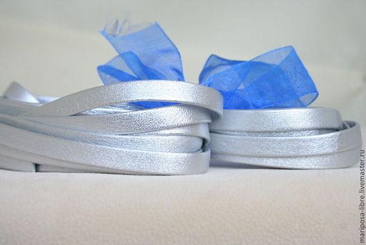 Для украшений ручной работы. Ярмарка Мастеров - ручная работа. Купить Шнур 10х2 кожаный, цвет серебро. Handmade. шнурок