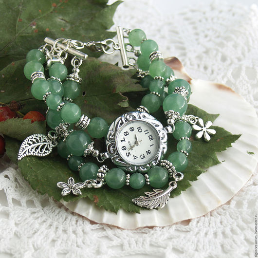 """Часы ручной работы. Ярмарка Мастеров - ручная работа. Купить """"Нефритовый лес"""" - часы-браслет. Handmade. Зеленый, часы нефрит"""
