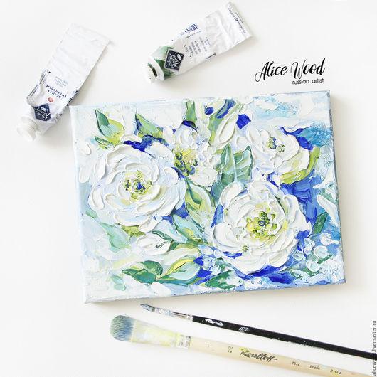 Alice Wood / Картины цветов ручной работы. Ярмарка Мастеров - ручная работа. Купить картину Прохлада белых роз. Картина с цветами. Картина маслом на холсте. Цветы. Белые розы. Handmade