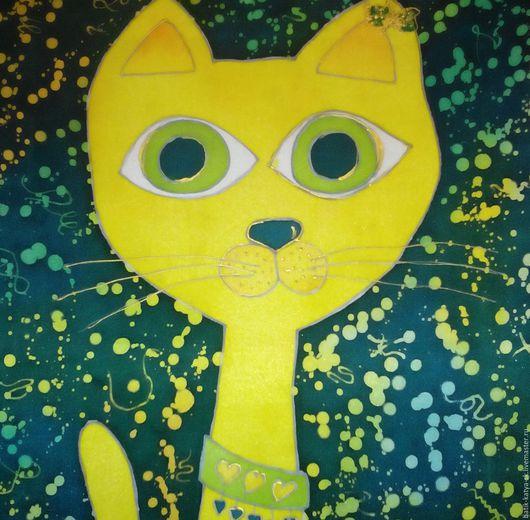 """Детская ручной работы. Ярмарка Мастеров - ручная работа. Купить Батик панно """"Желтый котик"""". Handmade. Желтый, Батик"""