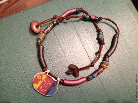 """Колье, бусы ручной работы. Ярмарка Мастеров - ручная работа. Купить Ожерелье """"Трёхликое"""".. Handmade. Разноцветный, греческая керамика"""