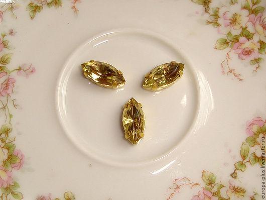 Для украшений ручной работы. Ярмарка Мастеров - ручная работа. Купить Винтажные кристаллы 15х7 - Jonquille. Handmade. Лимонный