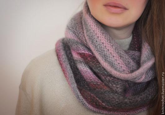 снуд, шарф труба, шарф хомут, снуд серый, снуд розовый, снуд розово-серый, снуд серо-розовый, снуд вязаный, шарф-труба, шарф-хомут, снуд женский, снуд вязаный серый, снуд серо-розовый вязаный, снуды