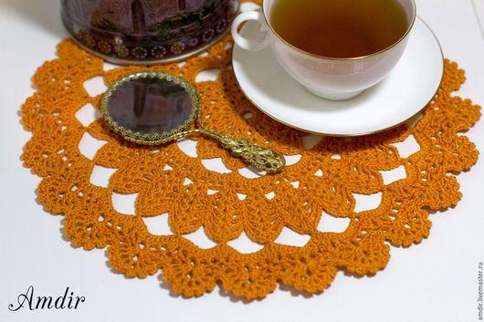 """Текстиль, ковры ручной работы. Ярмарка Мастеров - ручная работа. Купить Салфетка ажурная """"Оранжевое настроение"""" (большая). Handmade."""