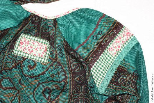 """Блузки ручной работы. Ярмарка Мастеров - ручная работа. Купить Блузка """"Изумрудная""""  бохо  стиль кантри. Handmade. Тёмно-зелёный"""