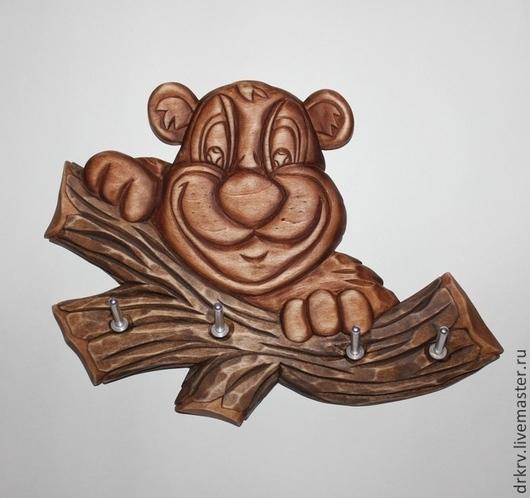 """Прихожая ручной работы. Ярмарка Мастеров - ручная работа. Купить Ключница """"Медвежонок"""". Handmade. Коричневый, резьба по дереву, для интерьера, морилка"""
