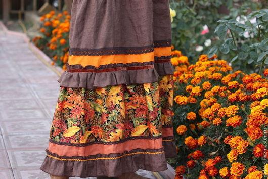 """Юбки ручной работы. Ярмарка Мастеров - ручная работа. Купить Юбка длинная """"Осенних листьев карнавал"""" из льна бохо-стиль кантри. Handmade."""