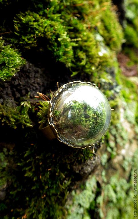 Кольцо с настоящим мхом Микромир.  Полая стеклянная полусфера в этом нежном колечке заполнена настоящим мхом. Собственный микромир, маленький кусочек леса и солнечного лета будет всегда с Вами. Кольцо безразмерное. Диаметр стеклянной полусферы - 2 см