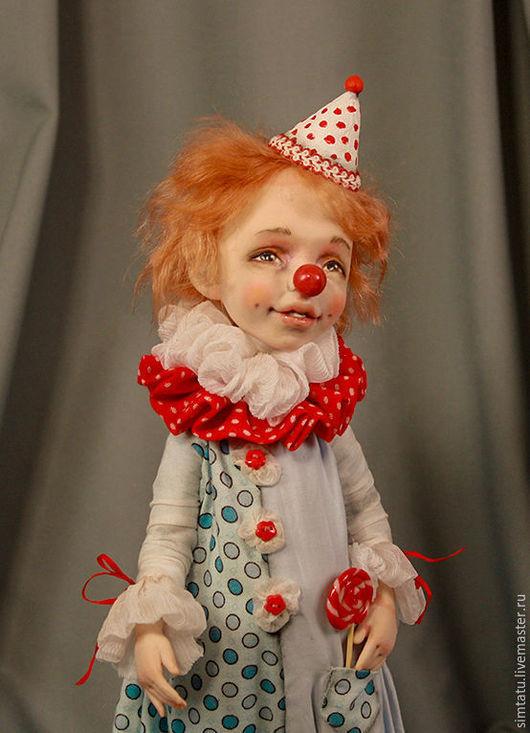 Коллекционные куклы ручной работы. Ярмарка Мастеров - ручная работа. Купить Клоун Любимчик Пашка.. Handmade. Голубой, радость