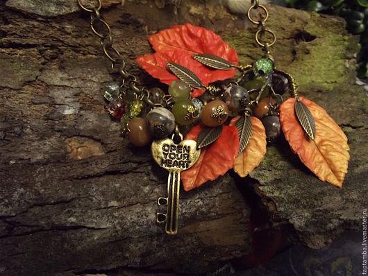 Колье, бусы ручной работы. Ярмарка Мастеров - ручная работа. Купить Колье Осенний ключ, полимерная глина и натуральные камни. Handmade.