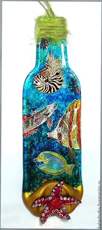 """Животные ручной работы. Ярмарка Мастеров - ручная работа. Купить Бутылка-мини картина """"Морские обитатели"""". Handmade. Стекло, океан"""