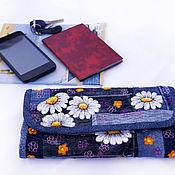 Wallets handmade. Livemaster - original item Purse denim Daisy patchwork embroidery. Handmade.