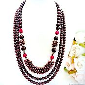 Украшения handmade. Livemaster - original item Necklace and earrings with garnet and spinel. Handmade.