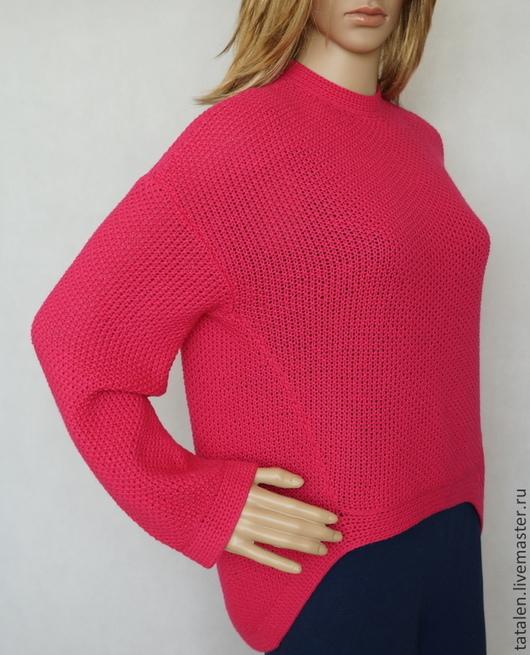 """Кофты и свитера ручной работы. Ярмарка Мастеров - ручная работа. Купить Пуловер кашемир """"Малина"""". Handmade. Однотонный, пуловер вязаный"""