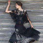 Одежда ручной работы. Ярмарка Мастеров - ручная работа Черная шелковая,многоярусная , длинная юбка с кардиганом. Handmade.