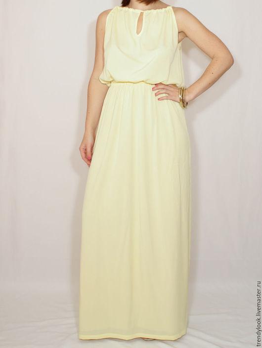 Платья ручной работы. Ярмарка Мастеров - ручная работа. Купить Светло-желтое платье из шифона, длинное летнее лимонное  платье. Handmade.