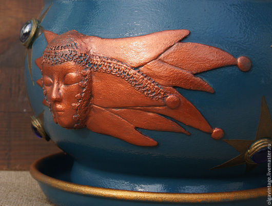 Кашпо ручной работы. Ярмарка Мастеров - ручная работа. Купить Большое кашпо керамическое, цветочный горшок Ночное небо. Handmade.