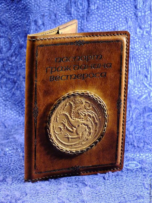 """Обложки ручной работы. Ярмарка Мастеров - ручная работа. Купить обложка паспорта из кожи """"Игра престолов"""" Таргариены. Handmade."""