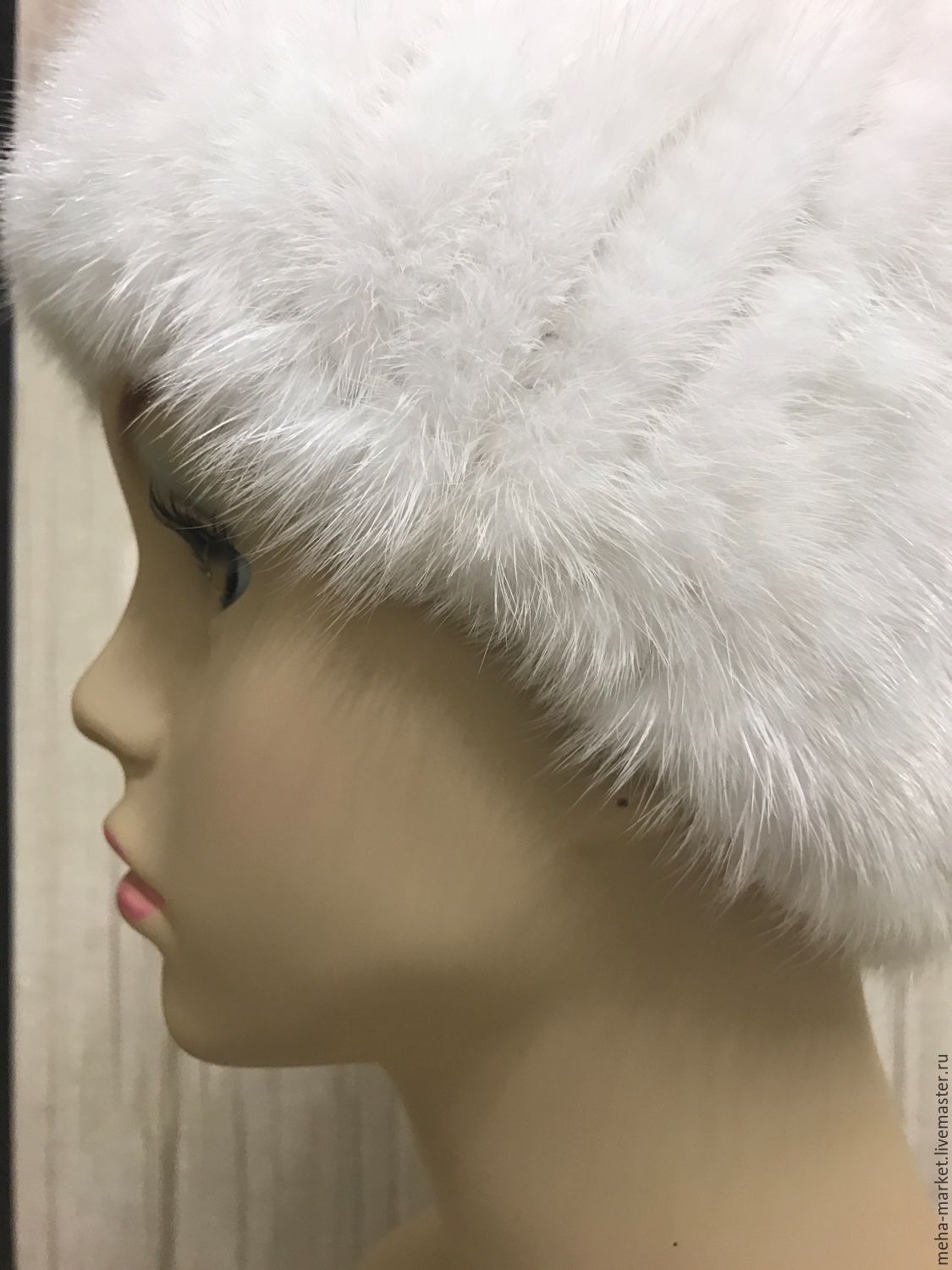 Headband from knitted mink WHITE