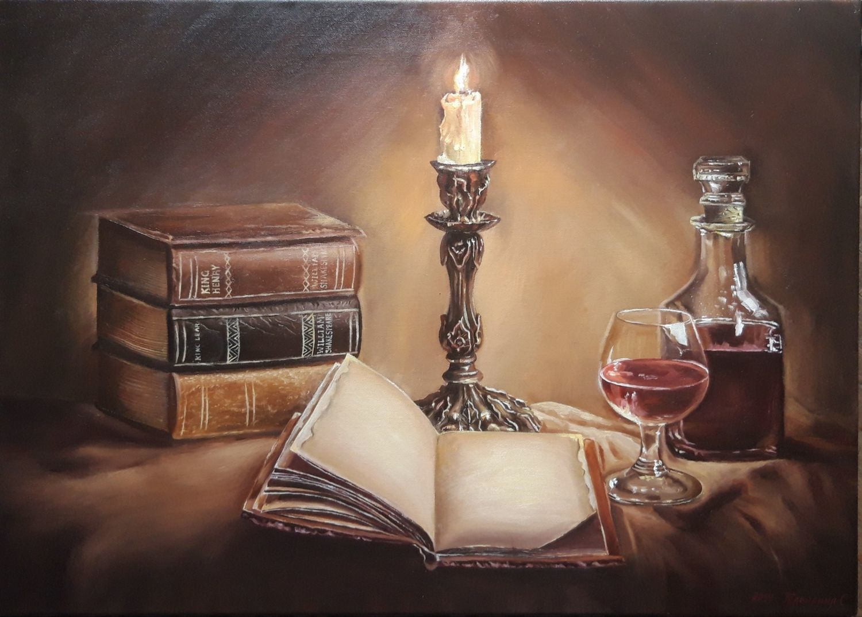 """Картина """"Книги старины"""" Натюрморт со свечой. Масло, Картины, Анапа,  Фото №1"""