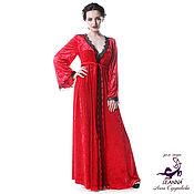 """Одежда ручной работы. Ярмарка Мастеров - ручная работа Пеньюар """"Роскошная Полночь"""" из рубинового винтажного бархата с кружево. Handmade."""