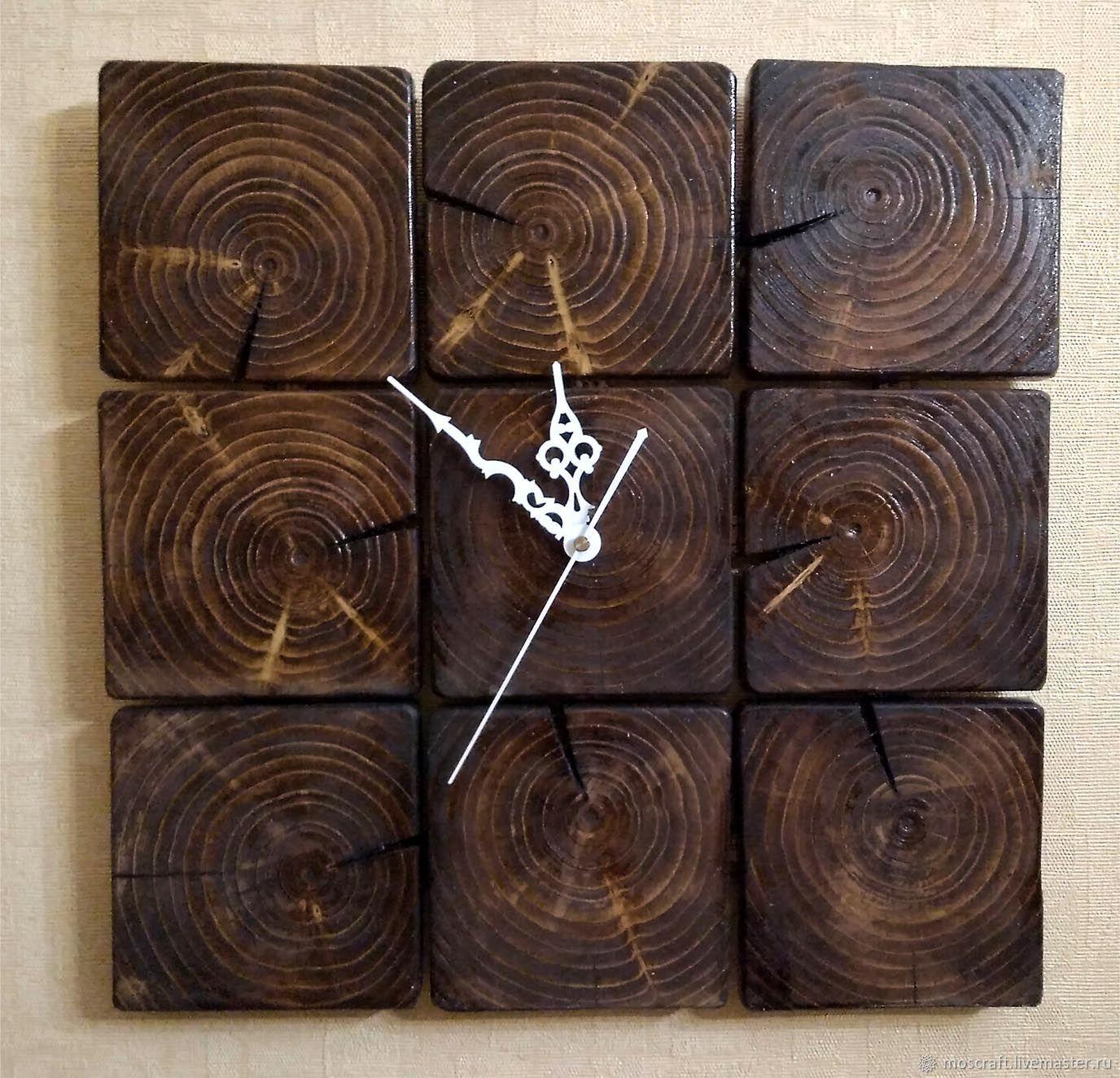 Часы настенные 40см из бруса Лофт – заказать на Ярмарке Мастеров – D08JBRU | Часы классические, Москва