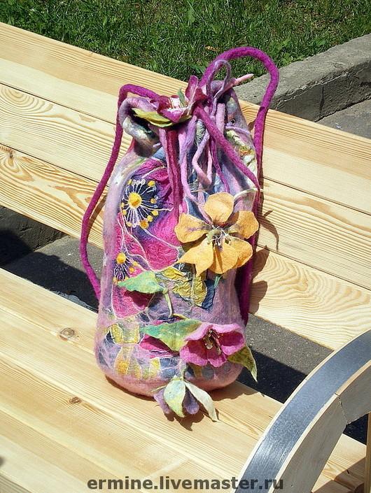 Handbags handmade. Livemaster - handmade. Buy felted backpack 'summer Magic'.Wool, wool for felting, wool merino, accessories