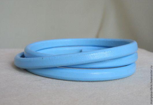 Для украшений ручной работы. Ярмарка Мастеров - ручная работа. Купить Шнур 10х7 кожаный, голубой. Handmade. Голубой