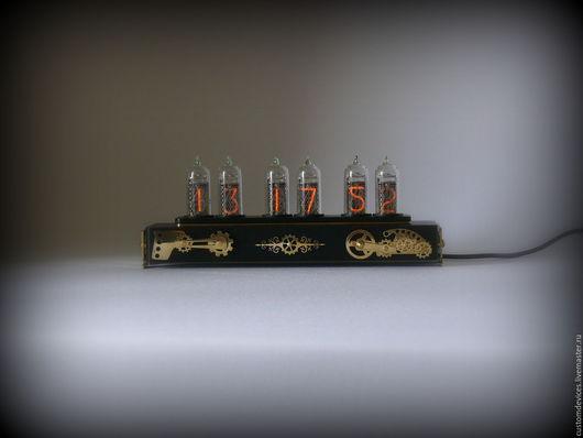 """Подарки для мужчин, ручной работы. Ярмарка Мастеров - ручная работа. Купить Ламповые часы """"Steampunk"""" Exclusive black edition. Handmade."""