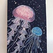 """Открытки ручной работы. Ярмарка Мастеров - ручная работа Картина миниатюра - открытка маслом """"Пара медуз"""". Handmade."""