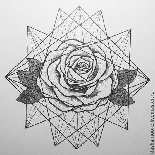 Картины цветов ручной работы. Ярмарка Мастеров - ручная работа. Купить Роза. Handmade. Белый, роза, рисунок, графика