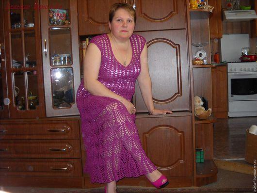 Платья ручной работы. Ярмарка Мастеров - ручная работа. Купить платье крючком фуксия. Handmade. Фуксия, женское платье
