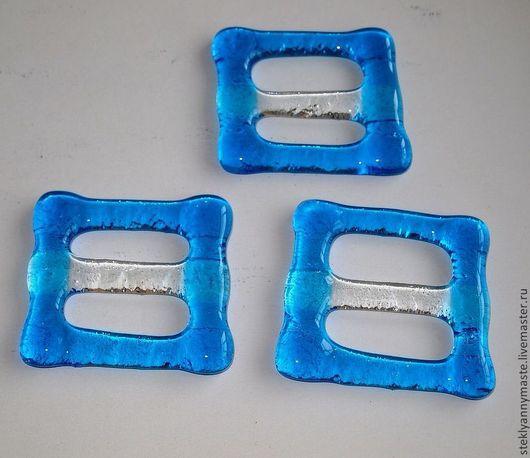 Галстуки, бабочки ручной работы. Ярмарка Мастеров - ручная работа. Купить Зажим для платка(кольцо для платка), фьюзинг. Handmade. Голубой