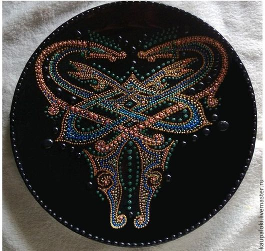 декоративная тарелка для дома и интерьера дракон
