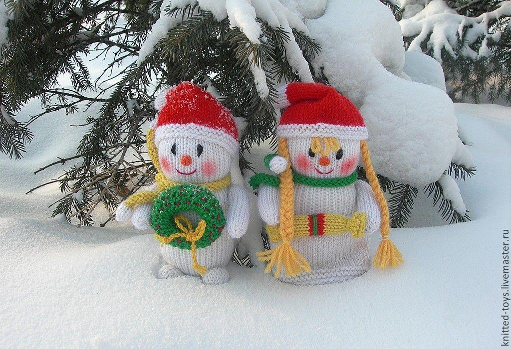 Снеговики (вязаные новогодние игрушки из шерсти), Снеговики, Липецк,  Фото №1
