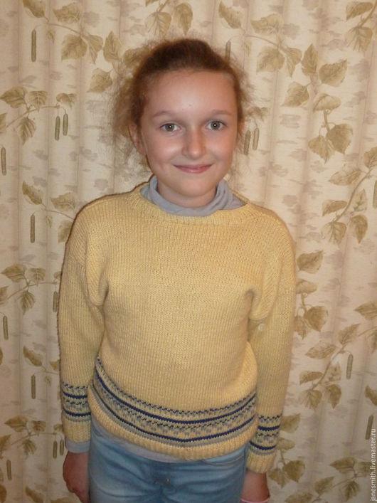 Одежда унисекс ручной работы. Ярмарка Мастеров - ручная работа. Купить вязаный детский свитер. Handmade. Желтый, кашемир