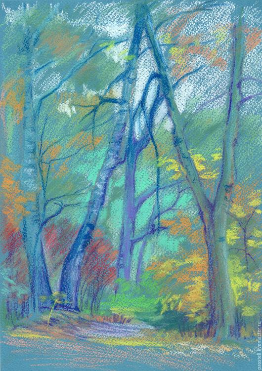 Пейзаж ручной работы. Ярмарка Мастеров - ручная работа. Купить Картина пастелью Ворота в осень. Handmade. Зеленый, оранжевый, осень